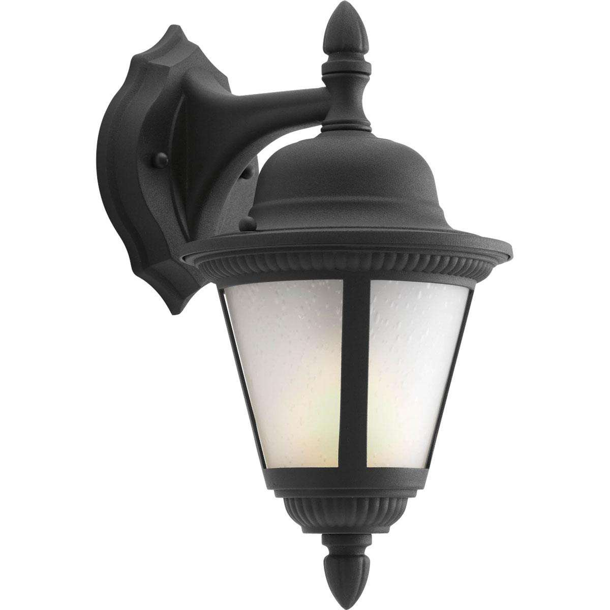 Westport Black 1-Lt. CFL wall lantern with Etched Seeded glass