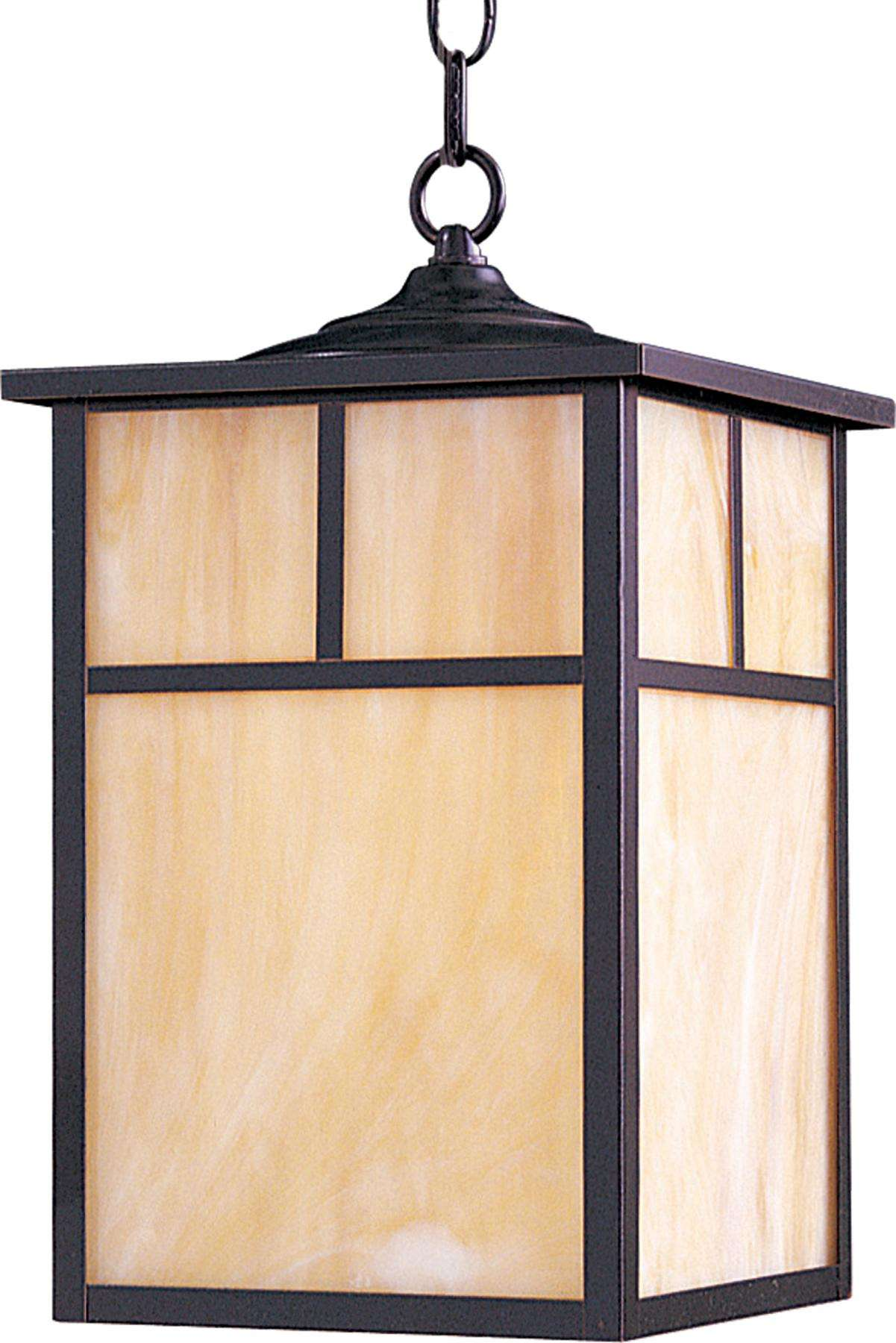 Maxim 4058HOBU Coldwater 1-Light Outdoor Hanging Lantern in Burnished with Honey glass.