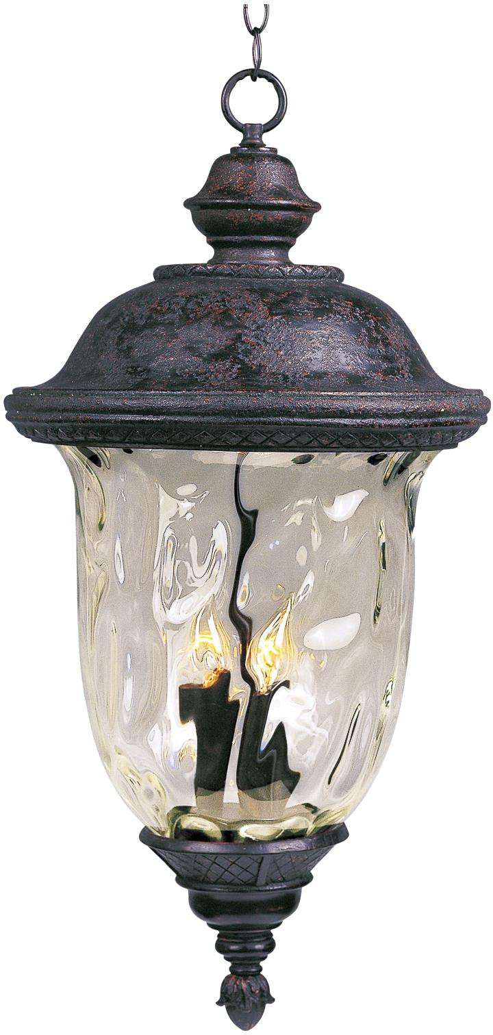 Maxim 3428WGOB Carriage House DC 3-Light Outdoor Hanging Lantern in Oriental Bronze with Water Glass glass.