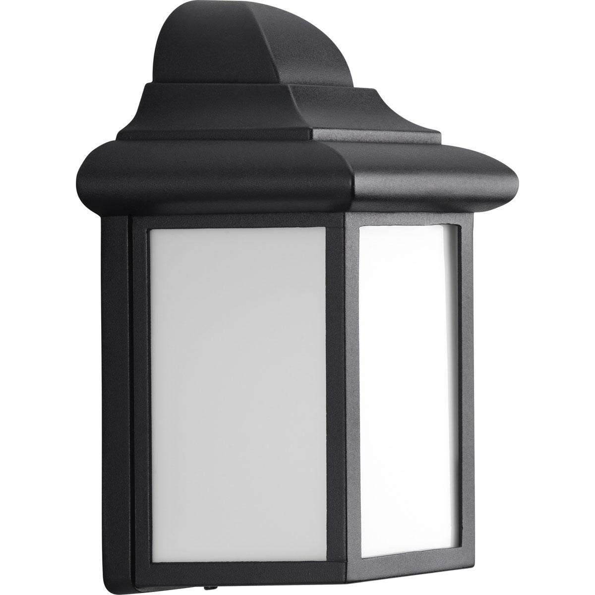 Progress P5821-31 One-light wall lantern in Black finish with matte white acrylic diffuser glass.
