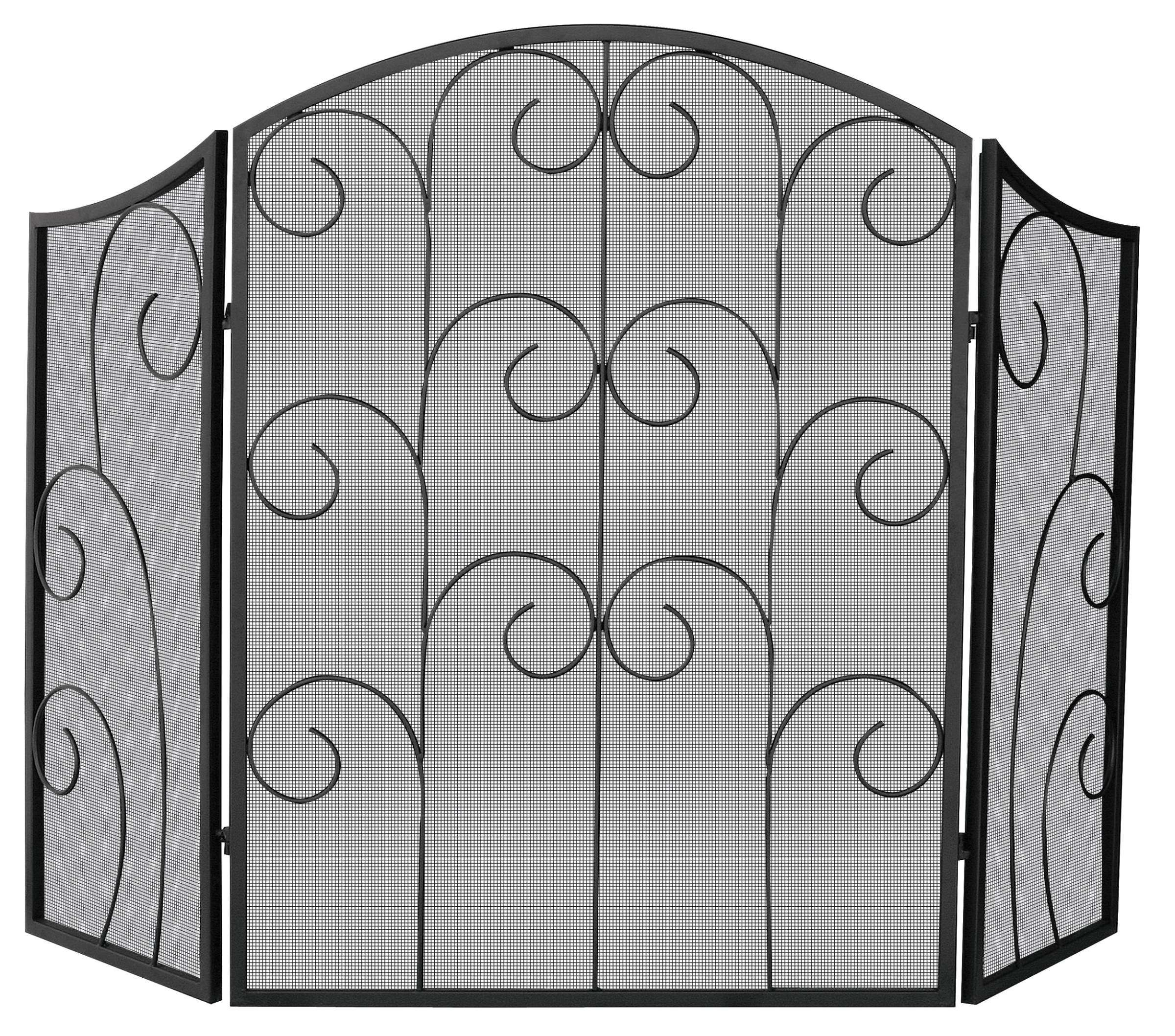 """3 Panel Black Wrought Iron Screen With Decorative Scroll - 52"""" Wide x 35"""" Tall"""