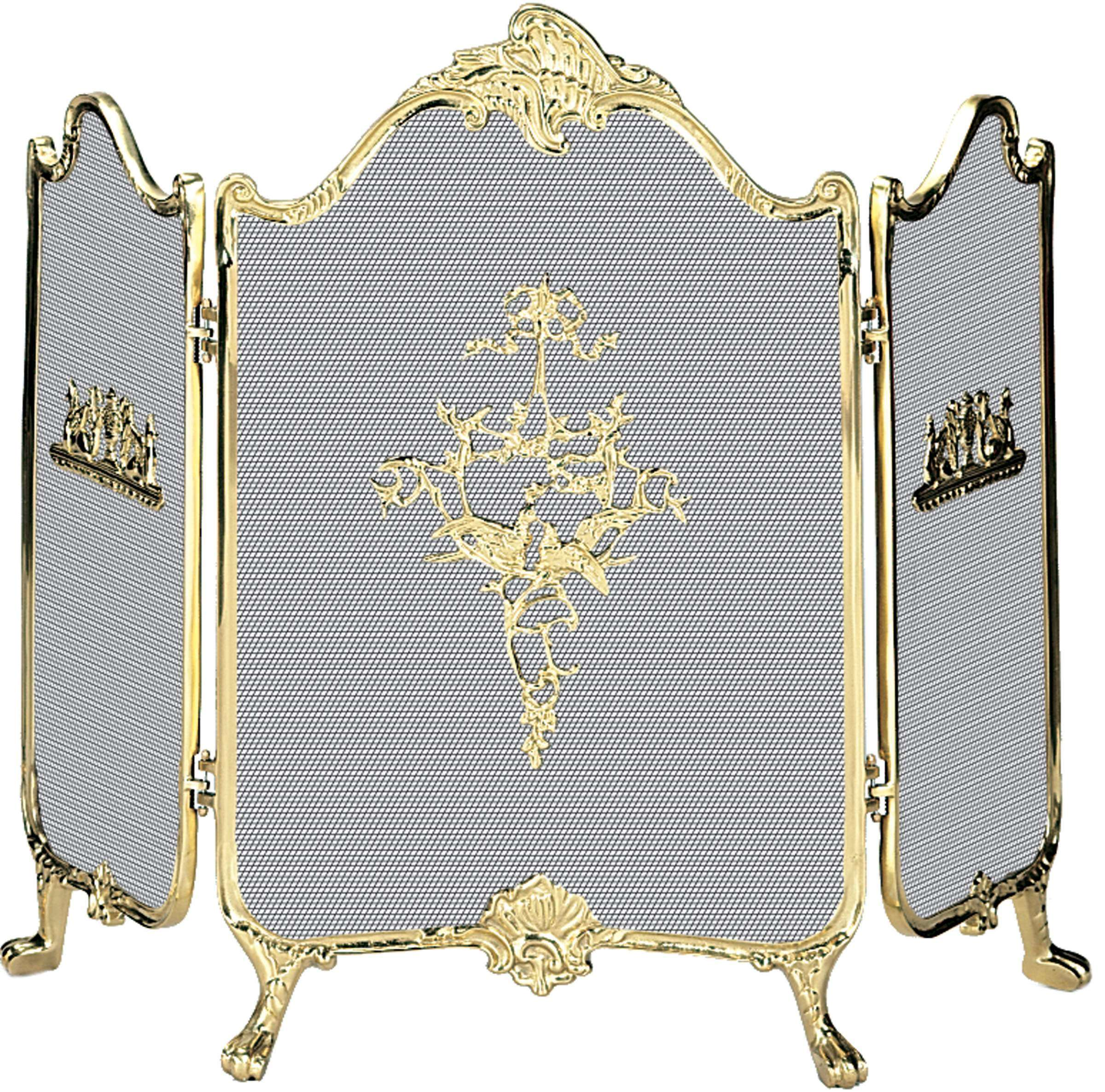 "3 Fold Ornate Fully Cast Solid Brass Screen - 41"" Wide x 31"" Tall"