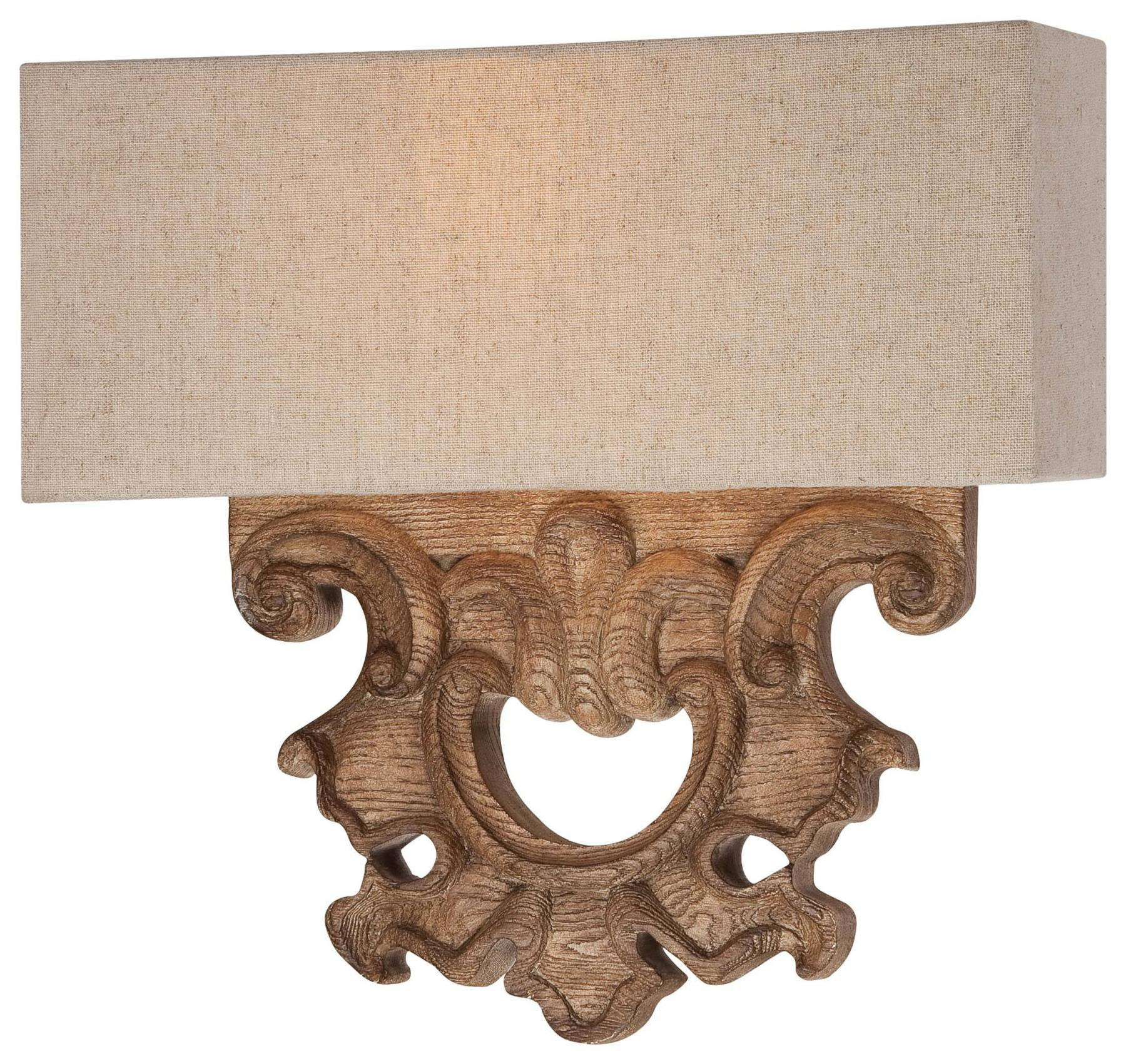 Minka Lavery 2 Light Wall Sconce In Classic Oak Patina Finish W/ Beige Fabric Shade
