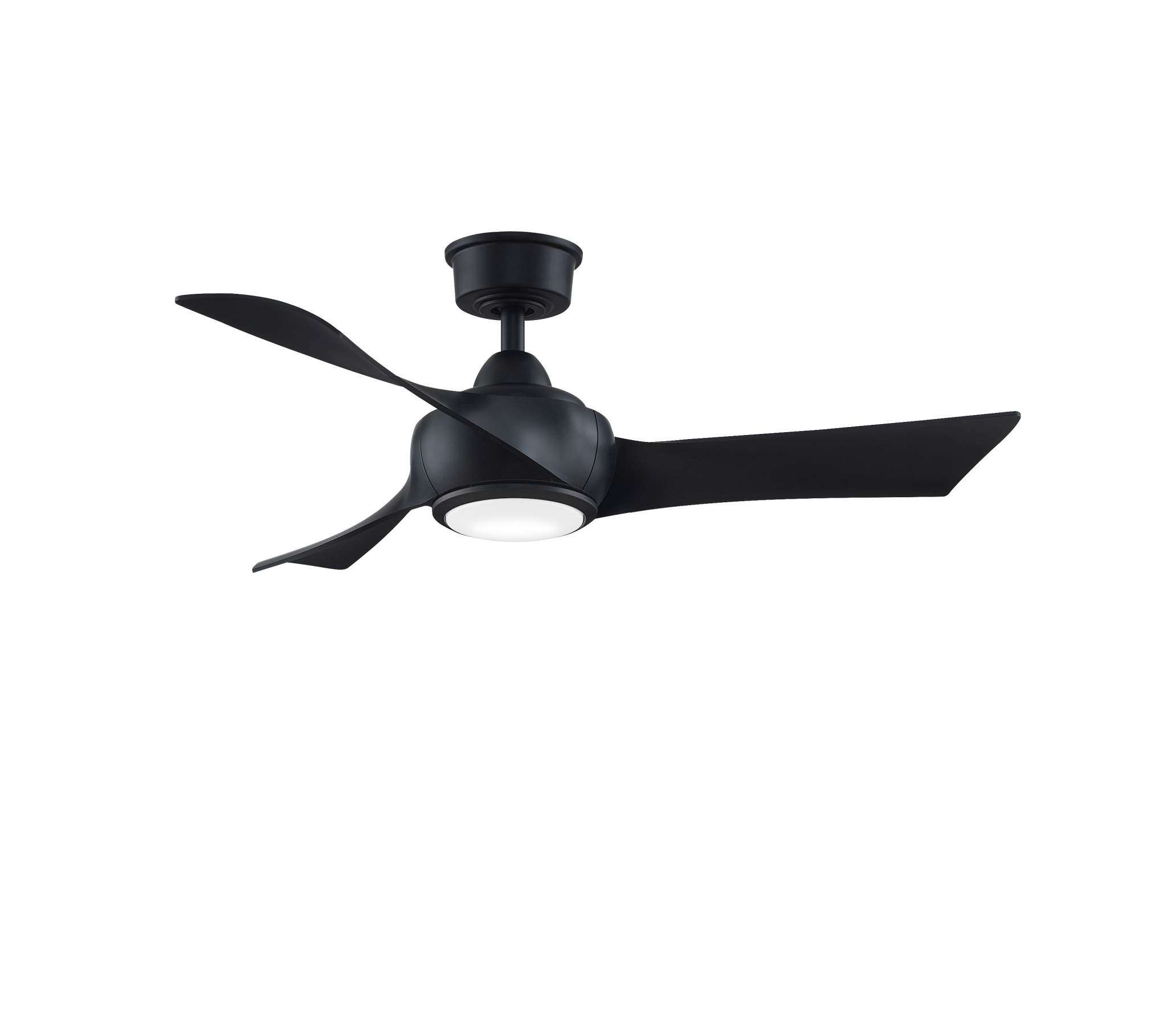 Fanimation MAD8530BL Custom Wrap 44 Inch Ceiling Fan in Black. Shown with BPW8530-44BL 44 Inch Black Blades and LK8530BL LED Light Kit.
