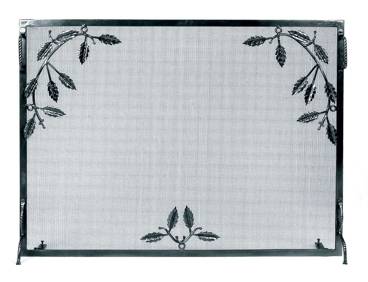 """Weston Fire Screen With Leaf Motif Iron - 44"""" Wide x 33"""" Tall"""