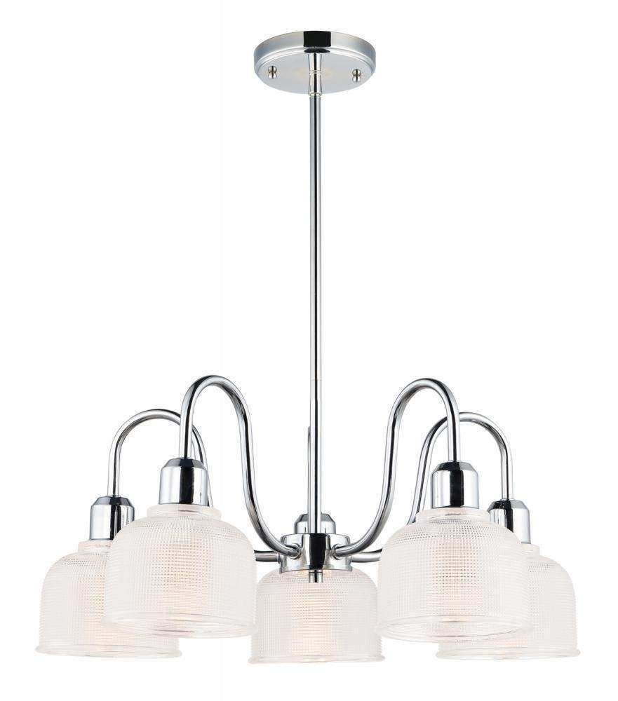 Hollow 5-Light Chandelier in Polished Chrome