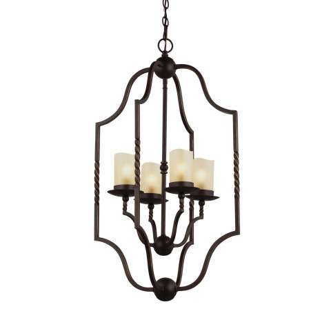 Trempealeau Four Light Hall / Foyer in Roman Bronze with Champagne Seeded Glass