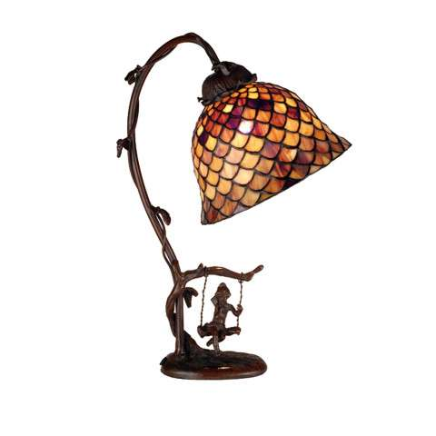 Meyda Tiffany 74046 Tiffany Fishscale Accent Lamp in Mahogany Bronze finish