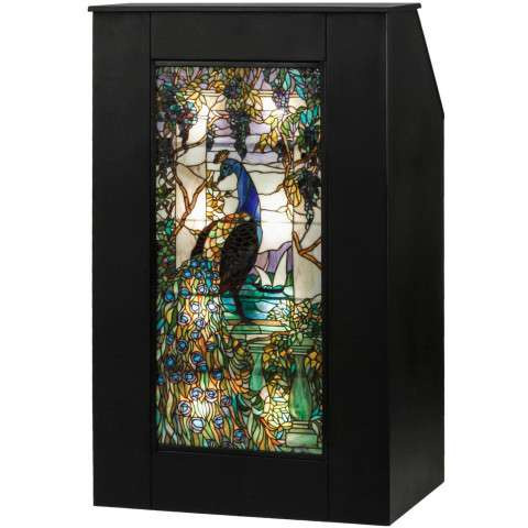 "52"" H Tiffany Peacock Wisteria Lighted Podium. Custom Crafted In Yorkville - New York Please Allow 30 Days"