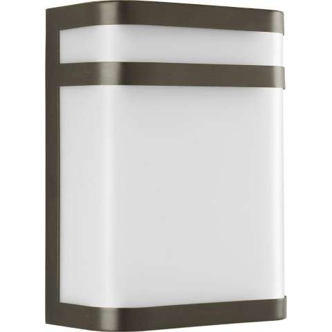 Progress P5801-20 One-light wall lantern in Antique Bronze finish with white polycarbonate glass.