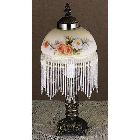 Meyda Tiffany 21191 Rose Bouquet Fringed Mini Lamp