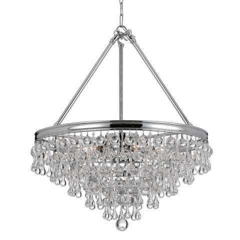 Crystorama 137-CH Chandelier with Clear smooth glass balls accents with Polished Chrome finish on a solid brass frame.