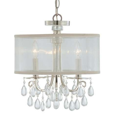 Crystorama 5623-CH Polished Chrome Chandelier Draped with Oyster Crystal Accented with a Silk Shade
