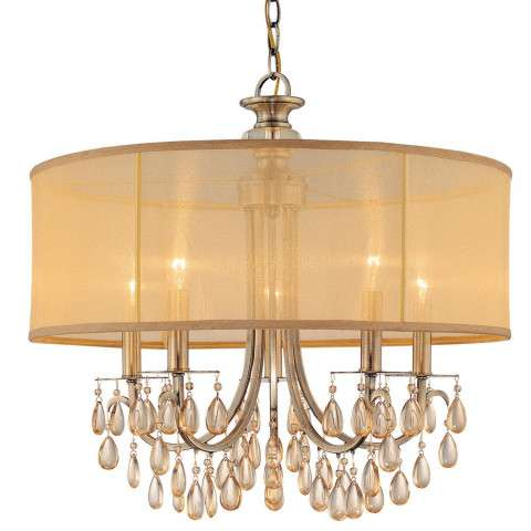 Crystorama 5625-AB Antique Brass Chandelier Accented with Etruscan Smooth Oyster crystals and Gold Silk Shimmer Shade