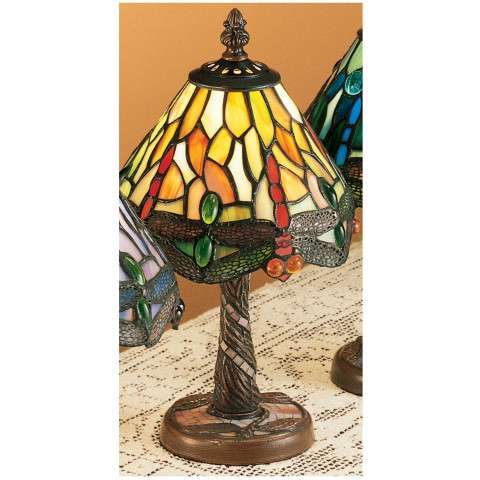 Meyda Tiffany 26614 Tiffany Hanginghead Dragonfly W/ Twisted Fly Mosaic Base Mini Lamp in Copperfoil finish