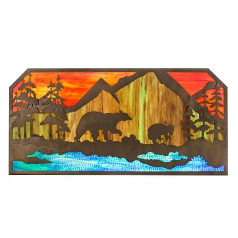"Bear at Lake - Rustic Lodge Art Glass Animals - 45.5"" L Bear at Lake Wall Art"