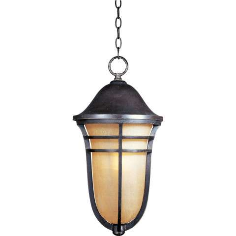 Maxim 40107MCAT Westport VX 1-Light Outdoor Hanging Lantern in Artesian Bronze with Mocha Cloud glass.