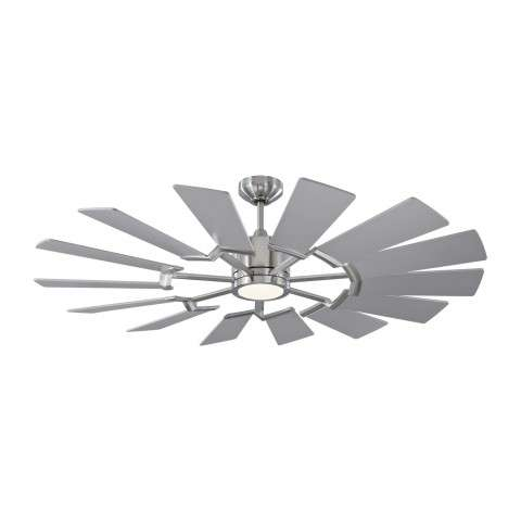 14PRR52BSD Prairie Ceiling Fan with Silver Blades - Shown With Light