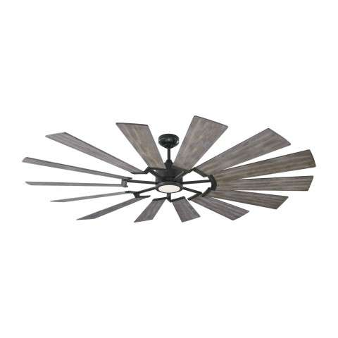 14PRR72BSD Prairie Ceiling Fan with Washed Grey Blades - Shown With Light