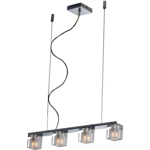 ET2 Contemporary Lighting E22035-18 Blocs 4-light Linear Pendant in Polished Chrome finish with Clear/Frosted glass
