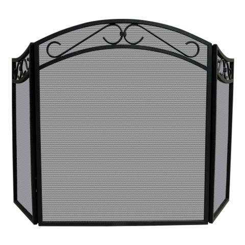"3 Fold Black Wrought Iron Arch Top Screen With Scrolls - 51.5"" Wide x 31"" Tall"