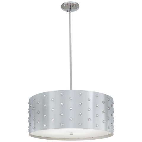 George Kovacs P034-077 Pendant/Chandelier in Chrome finish with Perforated Steel w/Crystals