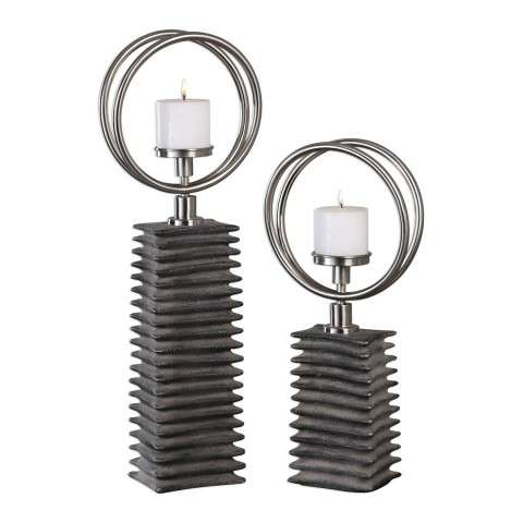 Eugenio Black Ceramic Candleholders - Set Of 2