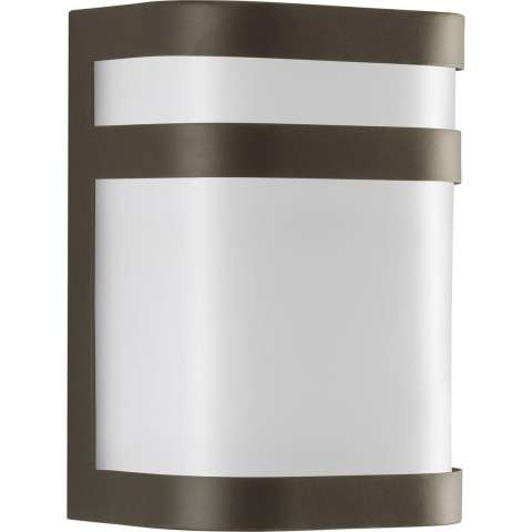 Progress P5800-20 One-light wall lantern in Antique Bronze finish with white polycarbonate glass.