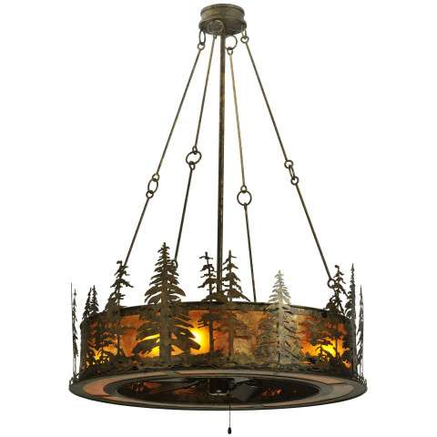 "Meyda 44"" Tall Pines Chandel-Air in Hammerton Ant Brz and Amber Mica w/Oil Bronze Fan"