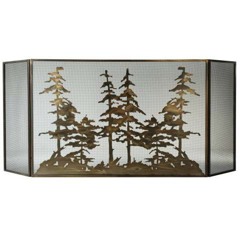 "Tall Pines Folding Fireplace Screen - 96"" Wide x 40"" Tall"