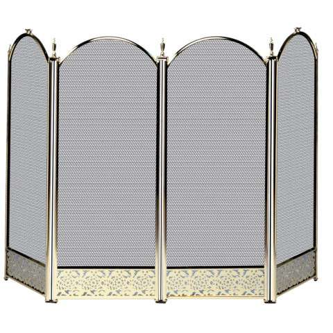 "4 Fold Polished Brass Screen With Decorative Filigree - 52"" Wide x 32"" Tall"