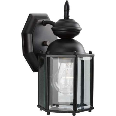 Progress P5756-31 One-light wall lantern in Black finish with clear beveled glass.