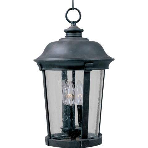 Maxim 3029CDBZ Dover Cast 3-Light Outdoor Hanging Lantern in Bronze with Seedy glass.