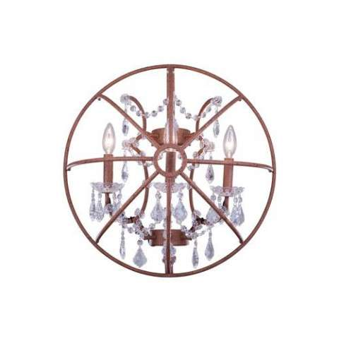 "1130 Geneva Collection Wall Lamp W:21"" H:21"" E10.5"" Lt:3 Rustic Intent Finish (Royal Cut  Crystals)"