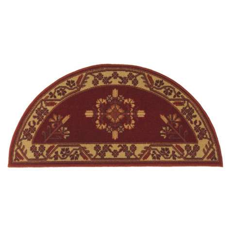 Jardin Hearth Rug - Half Round - Vermillion