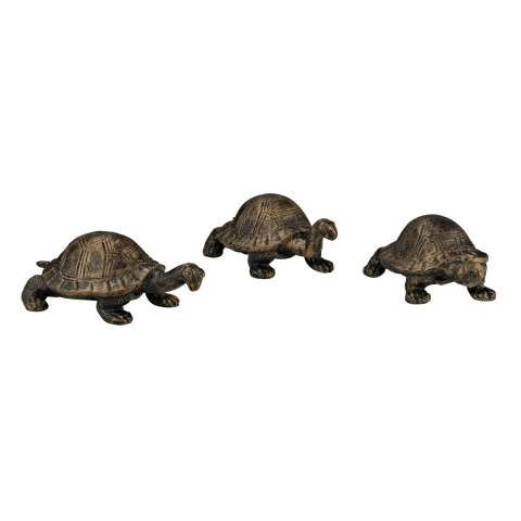 Sculpture - Set of 3 Box Turtles - Cast Iron