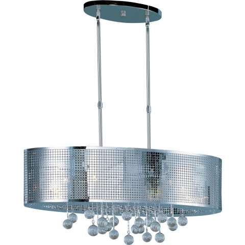 ET2 Contemporary Lighting E24389-91PC Illusion 9-light Linear Pendant in Polished Chrome finish with Bubble glass