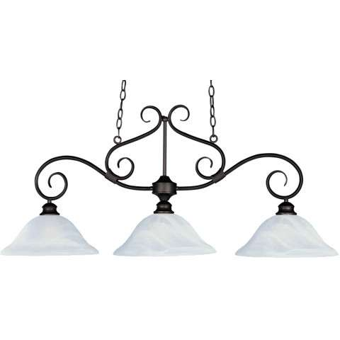 Maxim 2653MRKB Pacific 3-Light Pendant in Kentucky Bronze with Marble glass.