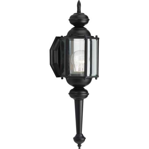 Progress P5758-31 One-light wall lantern in Black finish with clear beveled glass.