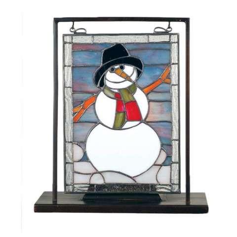 Meyda Tiffany 68340 Snowman Lighted Mini Tabletop Window in Black finish