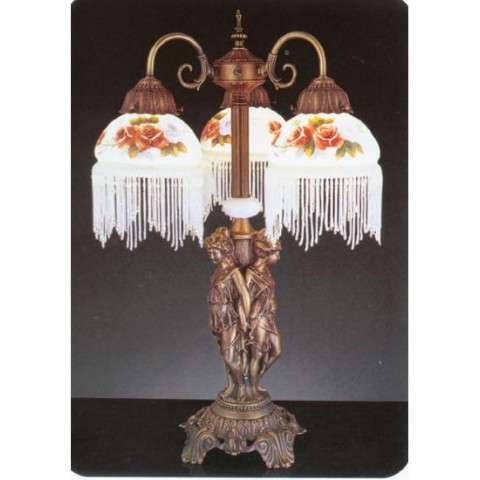 Meyda Tiffany 27085 Rose Bouquet 3 Arm Fringed Accent Lamp