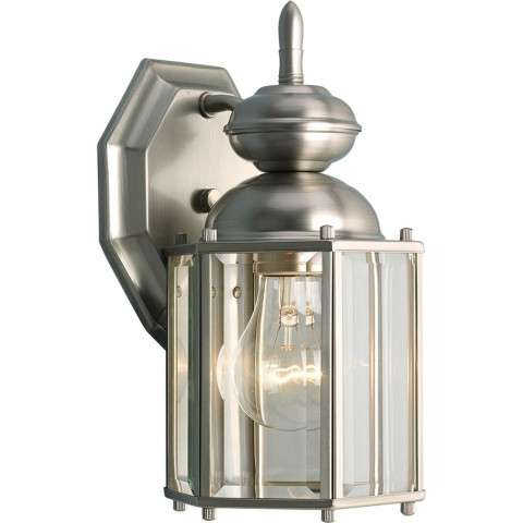 Progress P5756-09 One-light wall lantern in Brushed Nickel finish with clear beveled glass.
