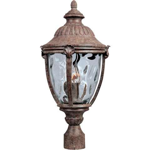 Maxim 3181WGET Morrow Bay Cast 3-Light Outdoor Pole/Post Lantern in Earth Tone with Water Glass glass.
