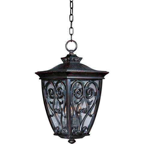 Maxim 40128CDOB Newbury VX 3-Light Outdoor Hanging Lantern in Oriental Bronze with Seedy glass.