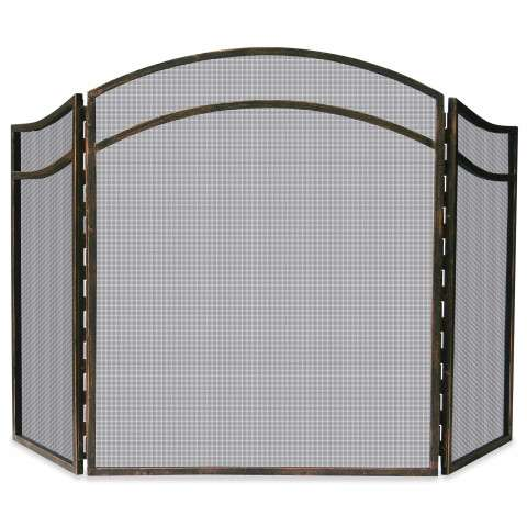 "3 Fold Antique Rust Wrought Iron Arch Top Screen - 51.5"" Wide x 31"" Tall"
