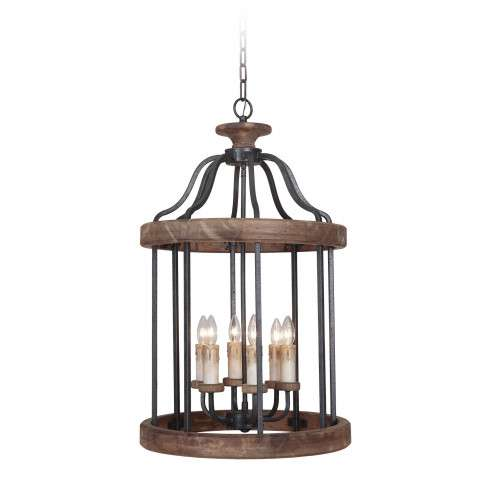 Jeremiah Indoor Lighting 6 Light Foyer In Texture Blk/Whiskey Barrel
