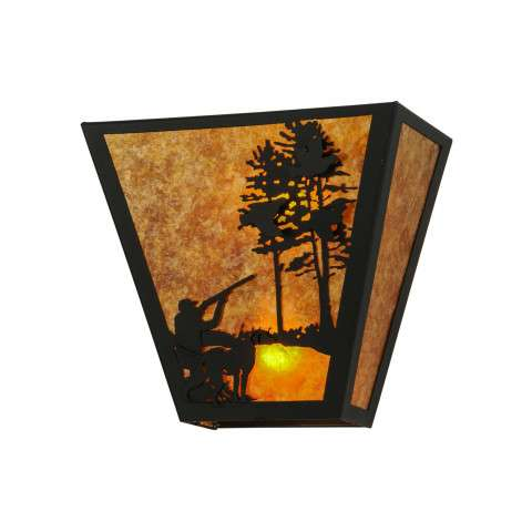 Meyda Tiffany 23943 Quail Hunter W/Dog Wall Sconce in Black finish with Amber Mica