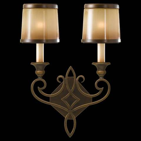 Murray Feiss WB1473ASTB Justine Wall Bracket in Astral Bronze finish with Aged Oak Glass