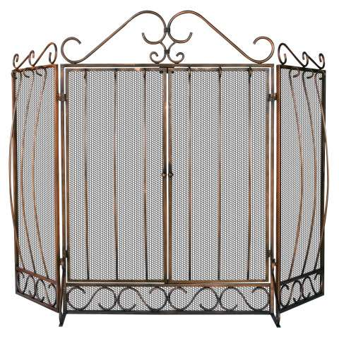 "3 Fold Venetian Bronze Screen With Bowed Bar Scrollwork - 56"" Wide x 40"" Tall"