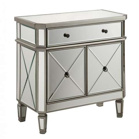 """1 Drawer 2 Door Cabinet L60""""W16""""H32"""" Silver Clear"""